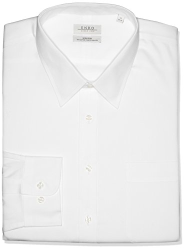 Enro Men's Classic Fit Solid Point Collar Dress Shirt, White, 17.5