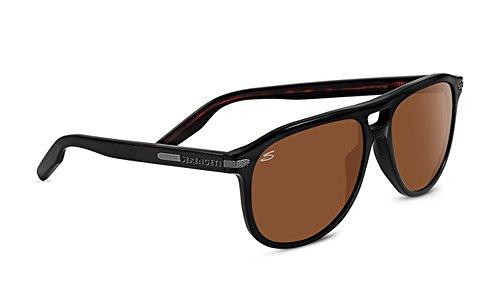 Serengeti Cosmopolitan Giacomo Sunglasses Shiny Black/Dark Tortoise Frame Frame, Brown by Serengeti