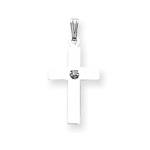 Icecarats Créatrice De Bijoux 14K .02Ct En Or Blanc. Diamant Pendentif Croix