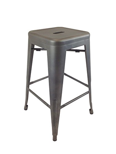 Neos Modern Furniture Creative Images International Gatsby Collection Set of 4 Industrial Metal Bar Stools, Gun Metal ()