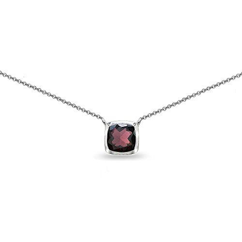 Sterling Silver Garnet Cushion-Cut Bezel-Set Solitaire Choker Necklace ()