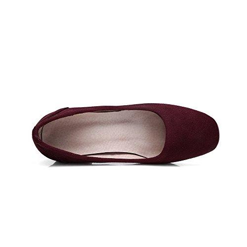 AgooLar Damen Ziehen auf Mittler Absatz Rein Quadratisch Zehe Pumps Schuhe Weinrot