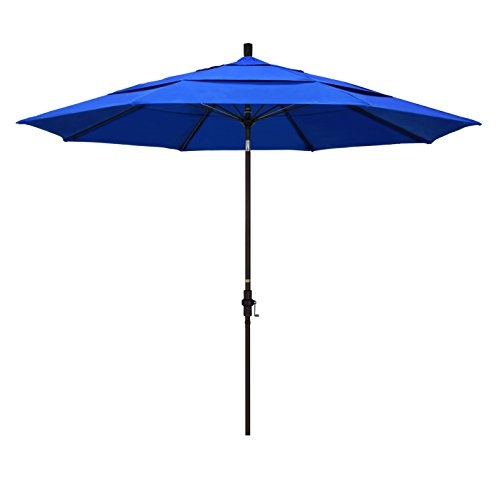 California Umbrella 11' Round Aluminum Pole Fiberglass Rib Market Umbrella, Crank Lift, Collar Tilt, Bronze Pole, Sunbrella Pacific Blue