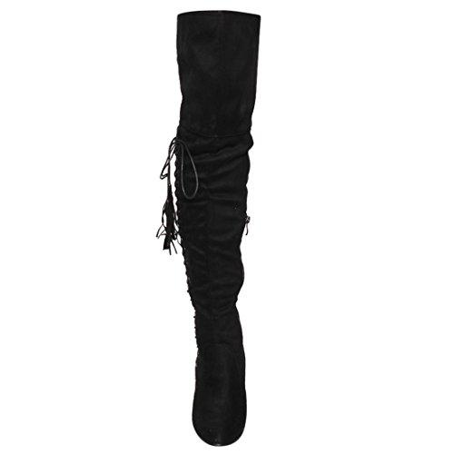 Beston Fm36 Femmes Côté Fermeture À Glissière Chunky Enveloppé Talon Cuisse Haut Gland Boot Noir