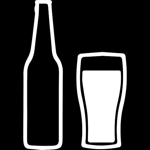 NBFU DECALS Beer Stein Silhouette (White) (Set of 2) Premium Waterproof Vinyl Decal Stickers for Laptop Phone Accessory Helmet CAR Window Bumper Mug Tuber Cup Door Wall Decoration ()