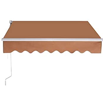 Image of Home and Kitchen Thaisan7 Manual Beige Patio Canopy Rectrctable Deck Awning Shunshade Shelter for balcony, entryway and gardens Elegant decoration, 9.8' L x8.2' W