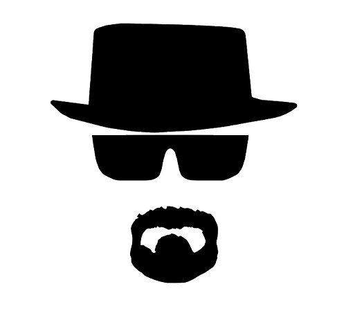 Heisenberg Beard (5 Inch Heisenberg Decal Window Sticker (Black) (Comes with Free How to Live Stress Free Ebook))