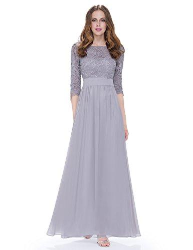 Ever Pretty Womens Three-Quarter Lace Sleeves Floor Length Bridesmaid Dress 16 US Grey