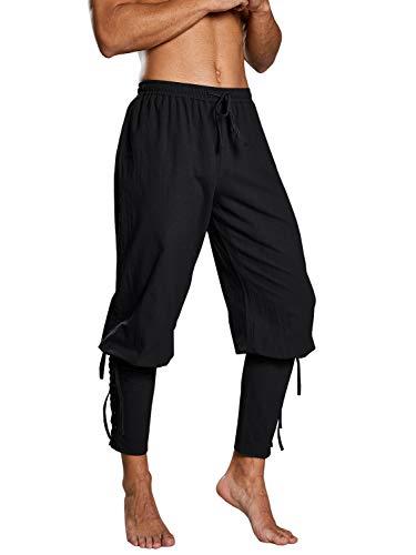 Taoliyuan Mens Medieval Pirate Costume Ankle Banded Pants Renaissance Viking Navigator Trousers]()