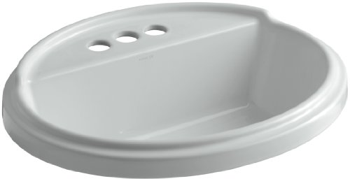 KOHLER K-2992-4-95 Tresham Oval Shaped Self-Rimming Bathroom Sink with 4-Inch Centerset Faucet Drilling, Iced (Faucet Drilling 4 Centers)