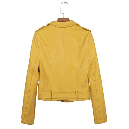Solid Fitted Faux Leather Howme Mini Women Down Zipper Color Collar Turn Slim Coat Yellow p8q4Y