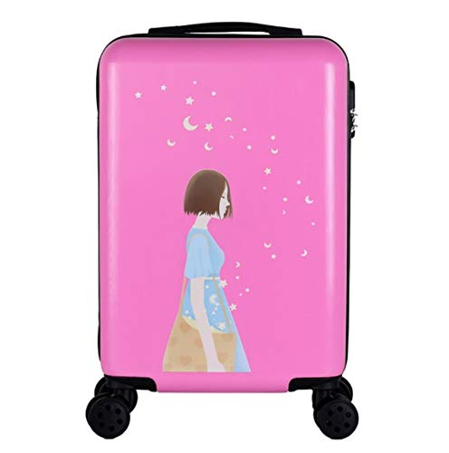 ShiMin トロリーユニバーサルホイール漫画の子供のスーツケースの女性の韓国語バージョン24インチ20インチ26インチ (Color : ピンク, Size : L) B07PLKDN13 ピンク L
