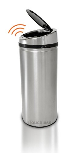iTouchless Automatic Round Stainless Steel Trash Can, 13 Gallon / 49 Liter