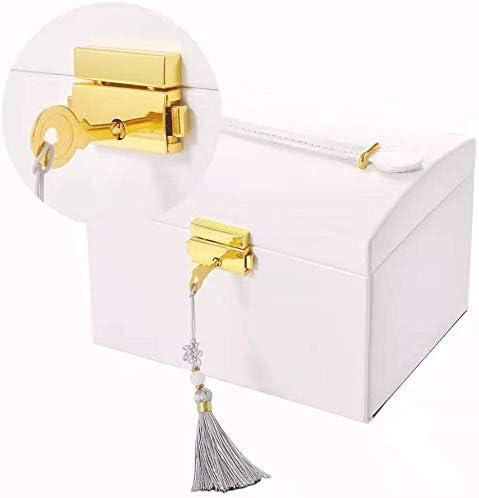 Cocina Caja Joyero Caja de Joyas,Estuche Rectangular para Guardar Joyas,Pendientes,Anillos y Collares,Espejo y Cajones,Tapa Elevable para Relojes Blanco