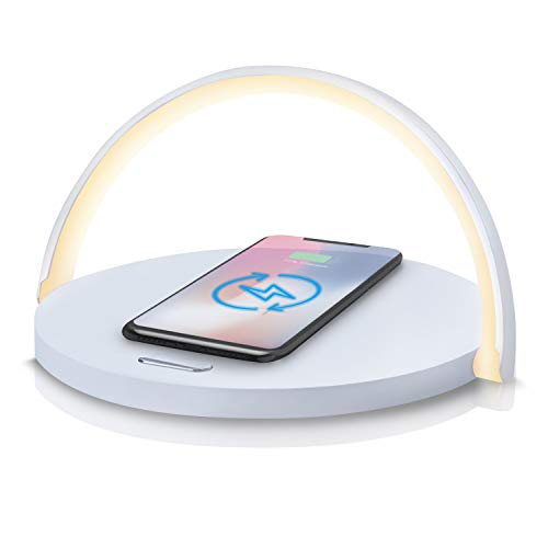Wireless Charger Bedside Lamp, LED Night Light Wireless Charging Pad with Touch-Control 3 Level Adjustable Brightness Compatible with Qi-Enabled Devices