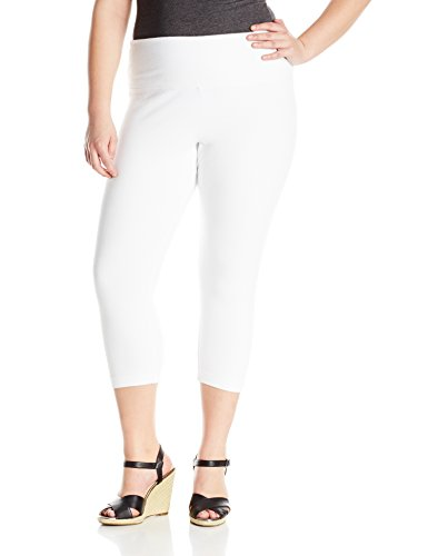 Lysse Women's Plus-Size Denim Capri Plus Size, White, 1X