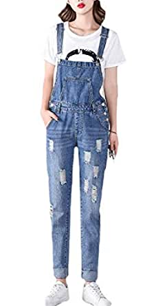 Women's Fashion Maternity Side Panel Skinny Ankle Length Denim Overalls Blue L