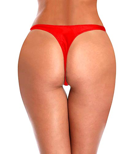 KIWI RATA Womens T-Back Thong G-String Swimwear Sexy Bikini Bottom Swimsuit Beachweark Thong G-String Swimwear Sexy Sweet Heart Brazilian Bikini Bottom Hipster Swimsuit Beachwear Swimwear Red