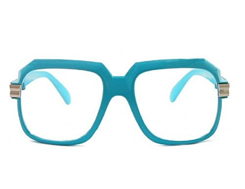 Gazelle Emcee Oversized Square Sunglasses w/ Clear Lenses (Powder Blue & Silver Frame, - Glass Frames Blue
