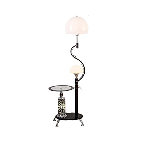 Floor Lamp Shade Acrylic (Modern Multi-Function Floor Lamp,with Glass Shelves, 2 Light White Acrylic Lampshade, Stands Lamp for Living Room And Bedroom, H166cm (Color : Black))