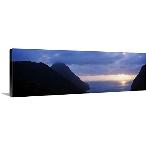 "GREATBIGCANVAS Gallery-Wrapped Canvas Entitled Sunset The Pitons St Lucia Windward Islands by 48""x16"""