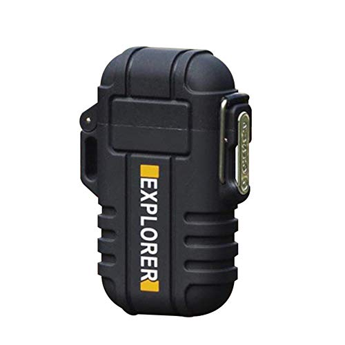 scgtpapadc Electric Lighter Dual Arc Cigarette Plasma Rechargeable Windproof Flameless USB - Black