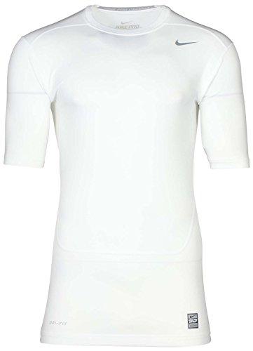 Nike Men Pro Core 2.0 Compression Short Sleeve Shirt, White, (Core Compression Shirt)