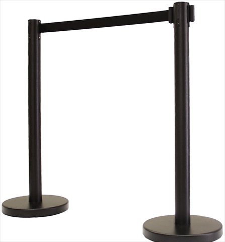 VIP Crowd Control 1100-10 14 in. Flat Base Black Post & Cover Retractable Belt Stanchion - 10 ft. Black Belt44; Pack of 2