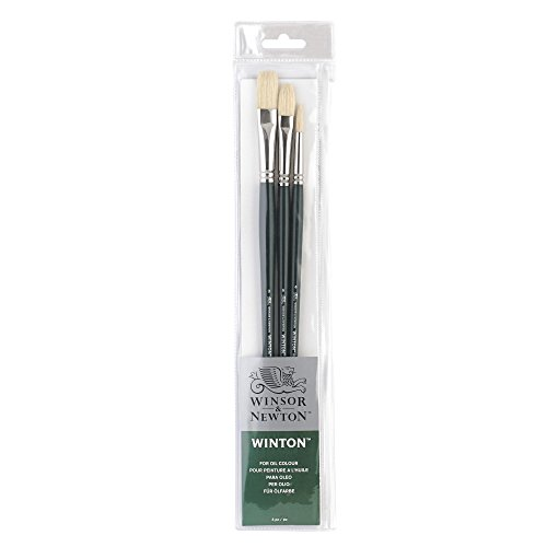 Winsor & Newton Winton Long Handle Brush (3 Pack) (Round 4, Filbert 6, Flat 8)