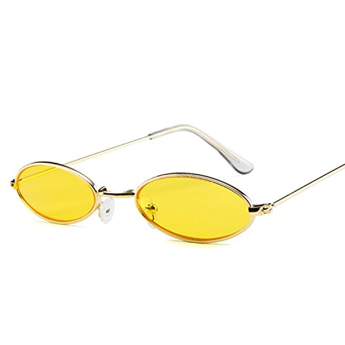 8cf319ef88b1 Small Oval Sunglasses for men Male retro Metal frame vintage small round  sun glasses,Yellow