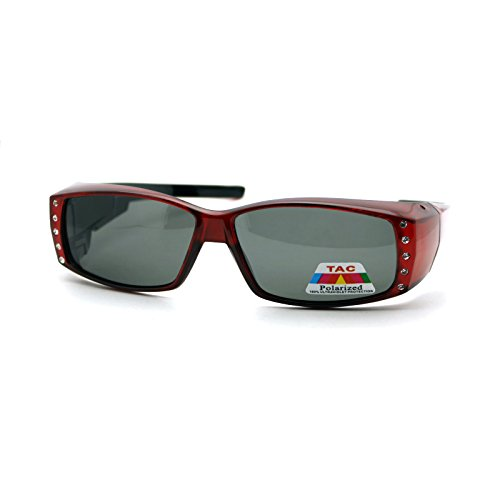 Womens Polarized Fit Over Glasses Sunglasses Rhinestones Rectangle Red