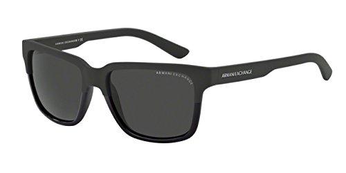 Armani Exchange Mens Sunglasses (AX4026) Black Matte/Grey Plastic - Non-Polarized - 56mm