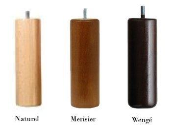 Jeu De 4 Pieds Cylindriques Bas Pour Sommier Tapissier 3 Coloris