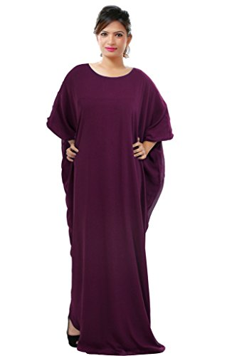 Dubai Very Fancy Kaftan Luxury Crystal Beaded Caftan Abaya Wedding Dress (XXXXL Purple) by Leena