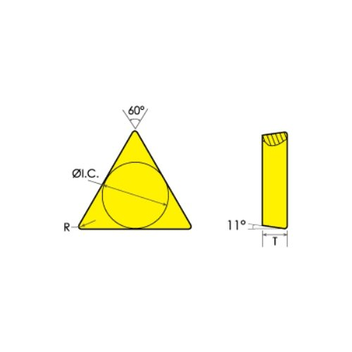HHIP 6020-1121 TPG 21.51 Tin Coated C6 Positive Rake Carbide Insert, 1/4'' IC
