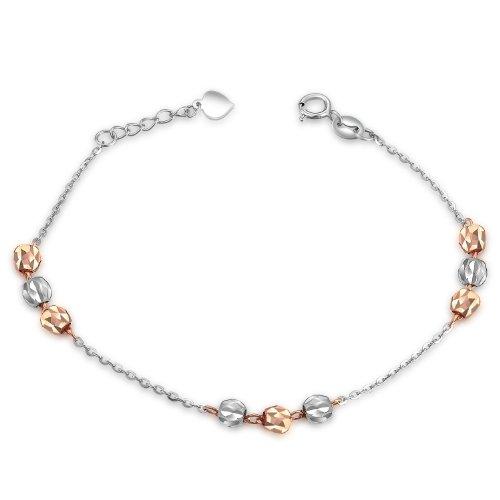 Deux couleur or blanc et or rose 14carats Bracelet Triple à perles lien (16,5cm) Mère cadeau de Saint-Valentin Bijoux pour Femme Fille Ado