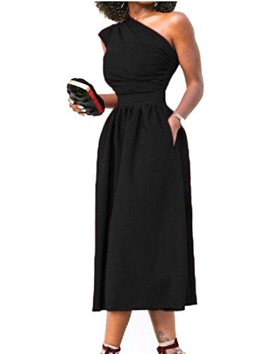 Coolred-femmes Sexy Épaule Solide De Couleur Off Grande Robe Midi Vogue Pendule Noir