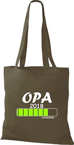 shirtinstyle Tela Bolsa Algodón Opa 2018 Carga parto Regalo - fucsia, 38 cm x 42 cm Oliva