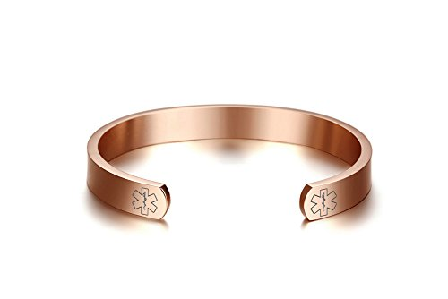 Free Engraving-Stainless Steel Medical Alert ID Open Cuff Bangle Bracelet for Men Women,Rose Gold Plated,8