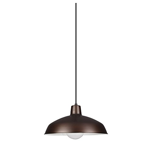 Sea Gull Lighting 6519-63 Painted Shade Pendants One-Light Pendant, Antique Brushed Copper Finish by Sea Gull Lighting