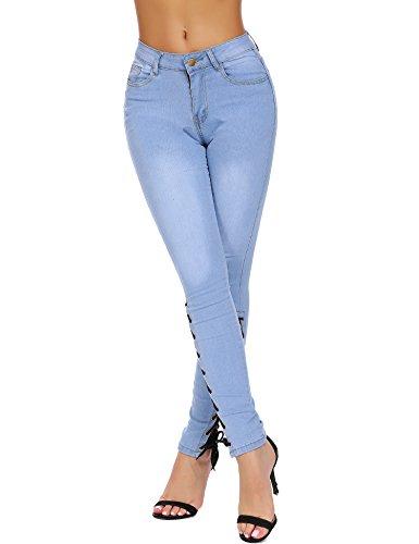4f9581a4316f42 Romanstii Women Jeans Skinny Curvy Slim Fit Stretch Denim Ripped Pants  Straps Cross with Laces Dark