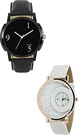 b24492b54659 Tutile Analogue Round Dial Smart Black and White Leather Belt Couple Wrist  Watches for Men