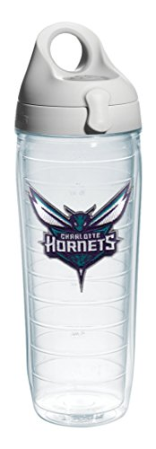 Tervis 1138641 ''NBA Char Hornets'' Water Bottle with Grey Lid, 24 oz, Clear by Tervis