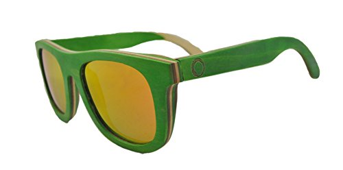 Skateboard Wooden Sunglasses for Men or Women, Wood Sun Glasses in Green with Brown and Natural Layers and Red Polarized Lenses, Trendy Wood Frame Sunglasses, Wayfarer Sunglasses - Sunnies Eyewear