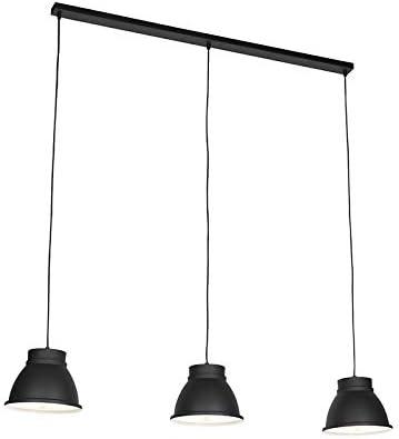 QAZQA rústico Lámpara colgante nórdica negra/blancas 3-luces - RON Aluminio/Acero Redonda/Alargada Adecuado para LED Max. 3 x 40 Watt