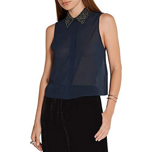 alice + olivia Womens Lorrie Beaded Collar Shirt Navy Small