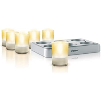 Philips 69126/60/48 Imageo LED Rechargeable Tea Lights with Charging Plate, Clear