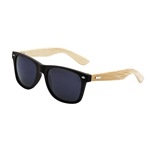 LogoLenses Men's Bamboo Wood Arms Classic Sunglasses - Bamboo Wayfarer