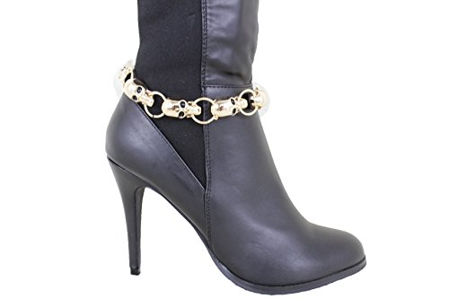 Pewter Filigree Bead - TFJ Women Western Boot Chains Multi Metal Bling Bracelet Cross Beads Anklet High Heel Charm Pewter