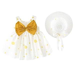 0-24 Months, Baby Girl Kids Summer Sleeveless O-Neck Print Floral Bow Princess Dress (Yellow, 6-12 Months)